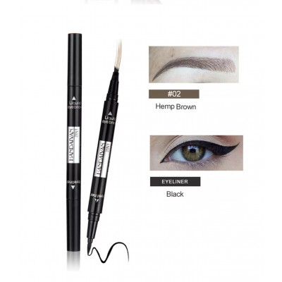 Double-end 2 in 1 Tattoo Eyebrow and Waterproof Liquid Eyeliner