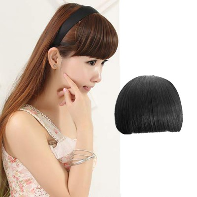 Girl's Pretty Clip On Front Hair Neat Bang Straight Fringe Headband - Black