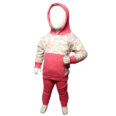 Contrast Pocket Hoodie Suit For Baby Girl