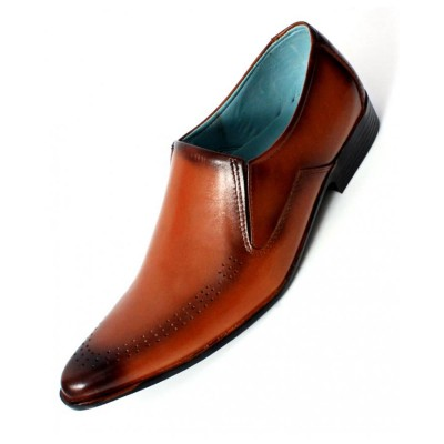 Brown Leather Dotted Design Formal Shoes