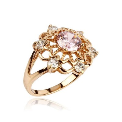 Pink & Silver Diamante Detailed 18-K Gold Plated Ring