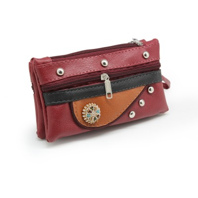 Crystal Bunch On Front - Casual Hand Clutch For Girls  With Extra Pockets - Maroon color - BG243