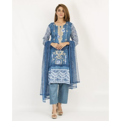 Golden Blue Floret Embroidery And Printed Lawn Un-Stitched Suit 3 Piece Lawn Suit With Printed Net Dupatta For Women - Lawn Dress Collection