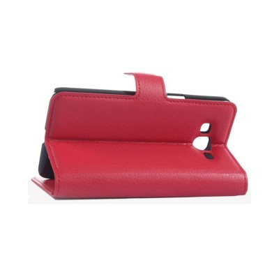Leather Wallet Case for Samsung Galaxy Grand Prime - Red