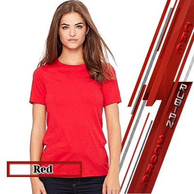 Red Cotton Round Neck Plain T-Shirt For Her