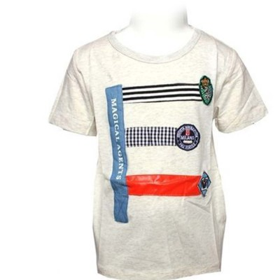 Round Neck-Short Sleeve- Knit Fabric Lacra-Printed-Oatmeal-Baby Boys T-Shirt