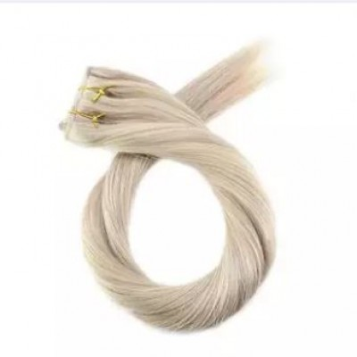 5 Clip in Hair Extensions Ash Blonde Highlighted with Bleach Blonde Stregiht 12H24H613