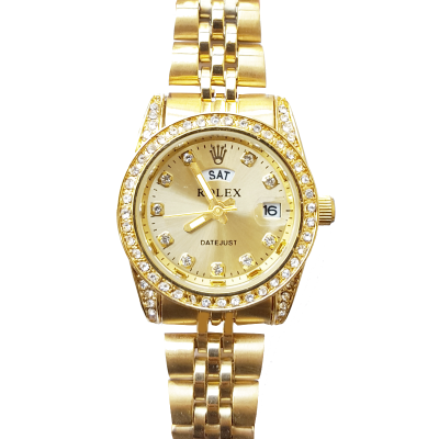 Diamond Date And Day Stainless Steel Watch For Women Golden
