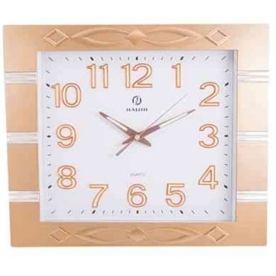 Black Center Dial Golden Radium Numbers Wall Clock 14X16 - Golden And Silver
