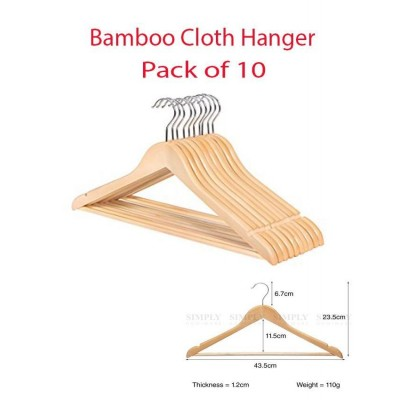Relaxsit Pack Of 10 Clothes Hangers Natural Wooden Wood Clothes - Coat Hangers With Round Trouser Bar And Shoulder Notches Strong Premium Heavy Duty