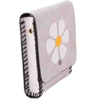 Gray Flower Short Purse And Clutch With Long Belt