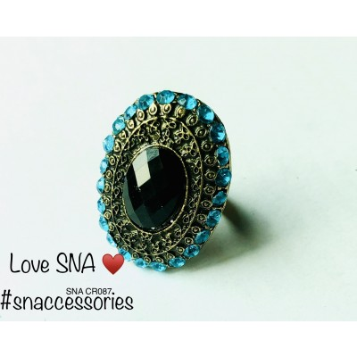Charming Black With Blue Stones Ring