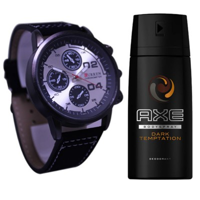 Bundle Offer - Analog Watch And Axe Dark Temptation Body Spray For Men - 150 ml