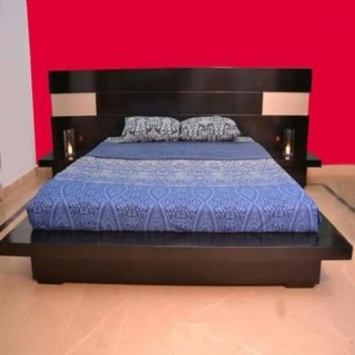 Cole Low Platform Bed with Two sideTables