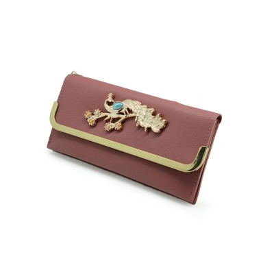 Casual Hand Clutch For Girls Also a Card Holder With Picock Bunch-light pink color - BG221