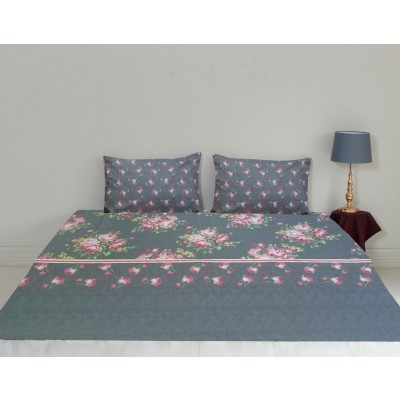 King Size Printed Bedsheet with Pillow Cases