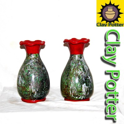 Clay Pair Of Vases Decor For Home Or Outdoor