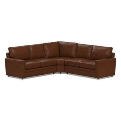 Pearce Square Arm Leather 3-Piece L-Shaped Sectional With Wedge Furniture