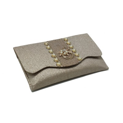 Flower Bunch In Center, Envelope Fold Front Party Use Clutch For Girls - Gliter Color - BG207