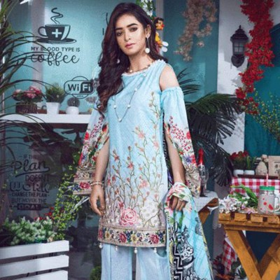 Women Summer Collection V2 Unstitched-Embroidered 3-pc Multi Lawn Suit  KL-4072