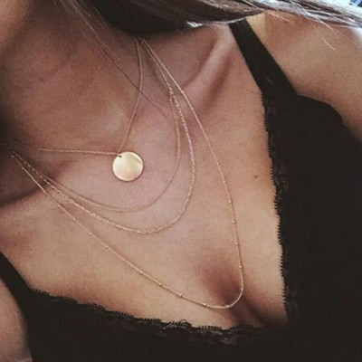 4 Layer Necklace For Women Ladies - Gold