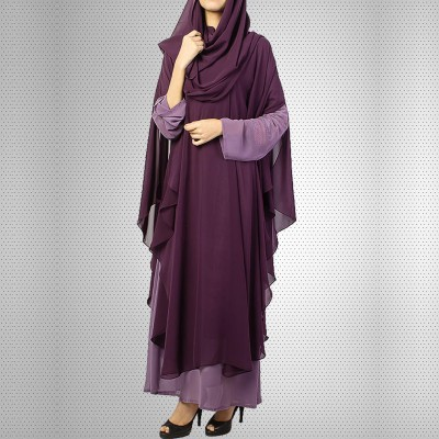 Purple Chiffon Front Close Abaya With Dupatta - JILBAB-C