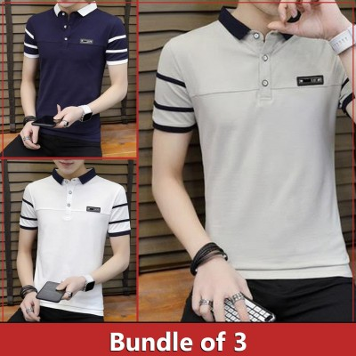 Pack of 3 Double Collar Strip Sleeve T-shirt