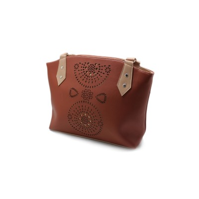 Brown Color Artificial Leather With Small Bunches Hand Bag BG-185