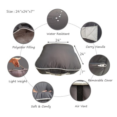 Rubber Coated Fabric Floor Cushion Floor Sitting Cushion Luxury Cushions 24 X 24 X 6 Inches Size - Dark Grey