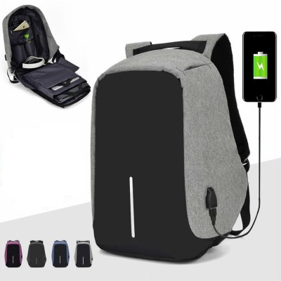 Grey Backpack High Quality Polyester Student School Female Male Computer High Capacity Travel Bag