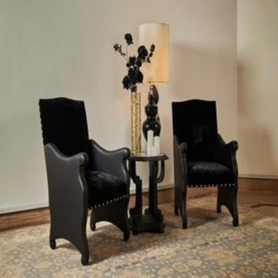 Artistic Black Corner Chairs With Table