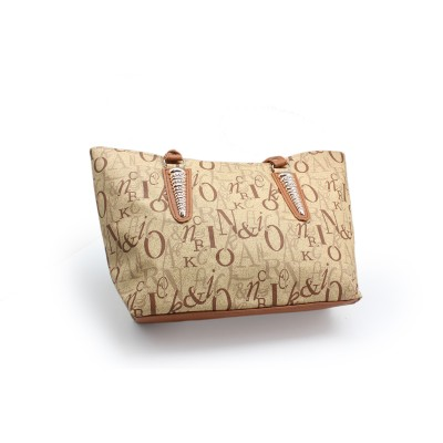Camel Color Artificial Leather Hand Bag With Alphabets Print -Light Brown Strips With Bunch - BG-262