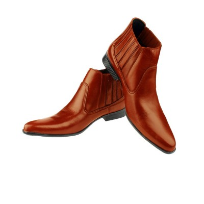 Mustard High Ankle Cowboy Leather Shoes