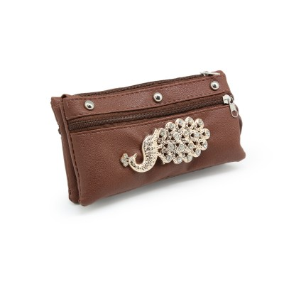 Picock Bunch Casual Hand Clutch For Girls  With Extra Pockets -Brown color - BG242