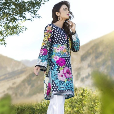 Multicolour Ready-To-Wear Digital Embroidered Kurta