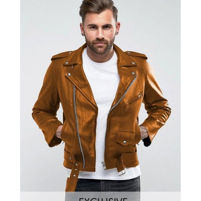 Mustard Faux Leather High street Jacket