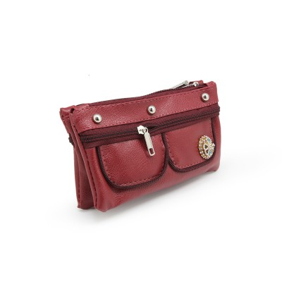 Crystal Bunch On Front In Zips Design - Casual Hand Clutch For Girls  With Extra Pockets - Maroon color - BG245