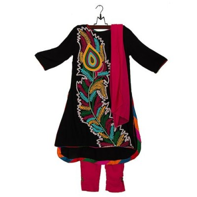 Black Malai Lawn Embroidered Suit for Girls - 3pcs