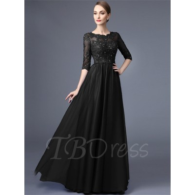 Party wear maxi dress Black With Perl