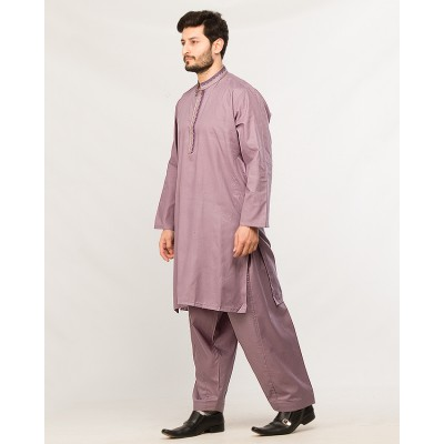 Light Purple Regular Fit Embroidery Men`s Kameez Shalwar