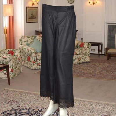 Black Color Bell Bottom Trouser With Lace