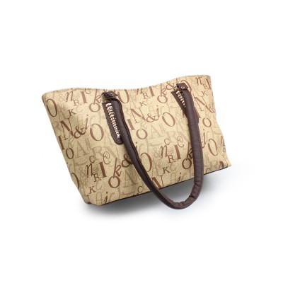 Camel Color Artificial Leather Hand Bag With Alphabets Print - Brown Strips With Bunch - BG-261