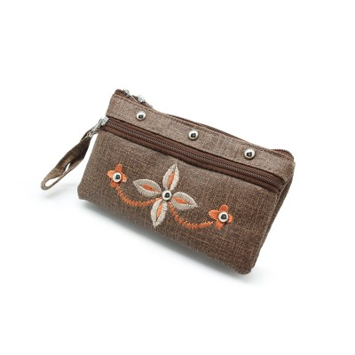 Casual use Clutch for girls - Artificial Leather Hand Clutch Multi Pockets Duffle - Flower Embroidery On Front - Color Brown- BG-277