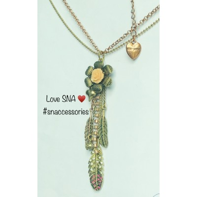 Peach Flower With Hanging Charms Pendant With Long Chain