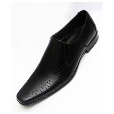 Black Leather Dotted Style Formal Shoes