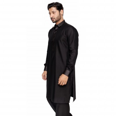 EDge Kurta Shalwar Black Leather