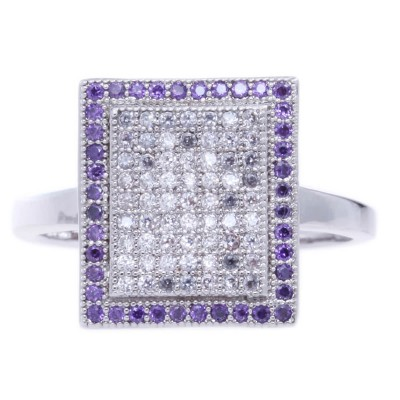 Silver Plated Zirconia Metal Ring-UA786139PK