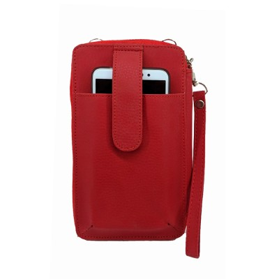 Cross Body PU Leather Red Mobile Pouch and Wallet