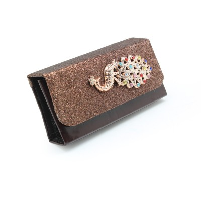 Crystal Peacock Bunch On Front unique design - Casual & party use Flapper Hand Clutch For Girls - maroon Color - BG289