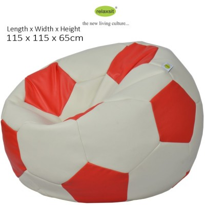 Jumbo Size Leather Football Bean Bag - White Red